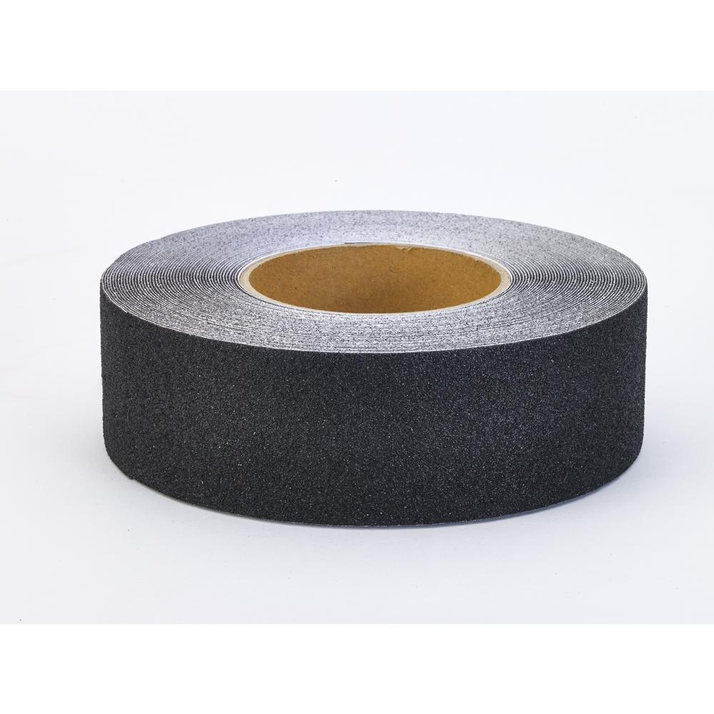"Aluminum Oxide Non Skid Abrasive Safety Tape, 60' Length x 2"" Width, Black"