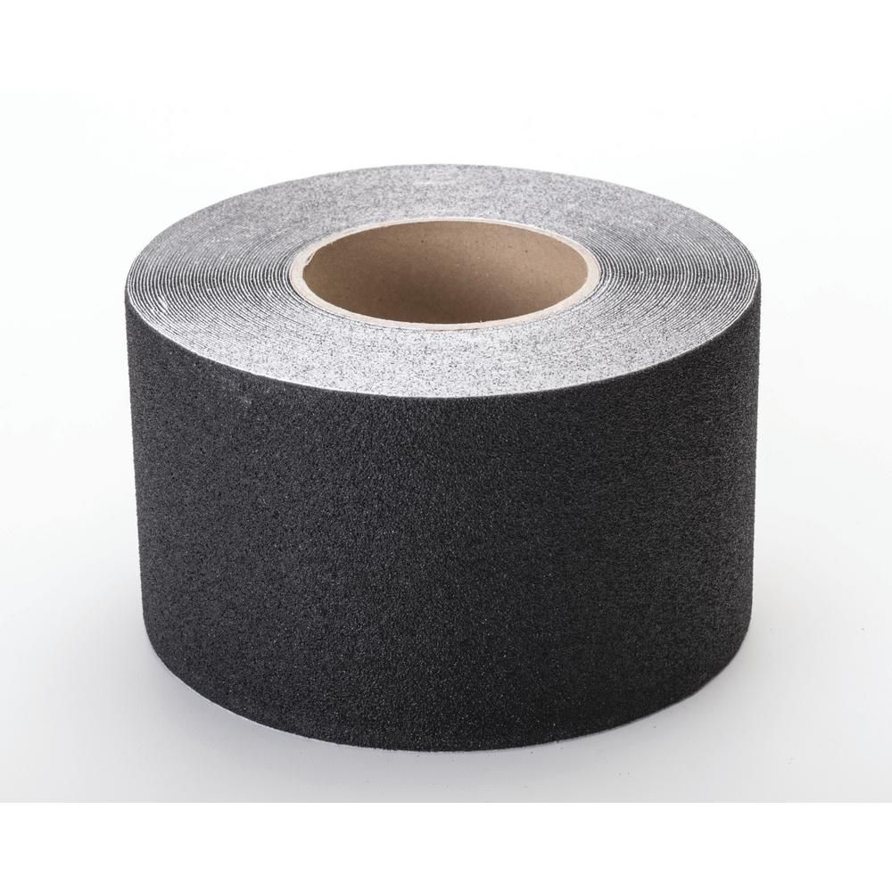"Aluminum Oxide Non Skid Abrasive Safety Tape, 60' Length x 4"" Width, Black"