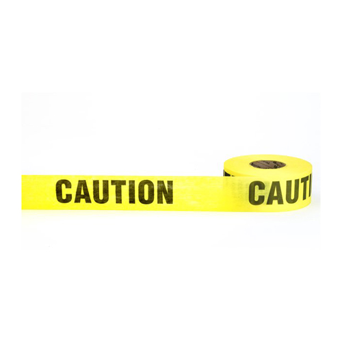 """Caution"" Biodegradable Barricade Tape, 3"" x 500', Yellow"
