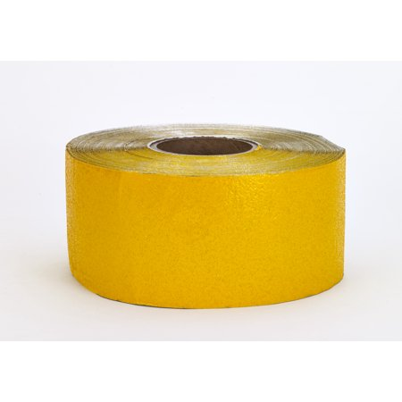 "Construction Grade Foil Backed Pavement Marking Adhesive Tape, 100 yds Length x 4"" Width, Yellow"
