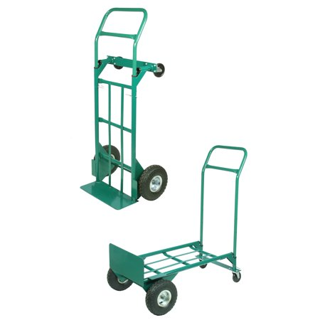 Heavy Duty Welded Steel 2-in-1 Hand Truck with Swivel Casters, 600 lbs Capacity