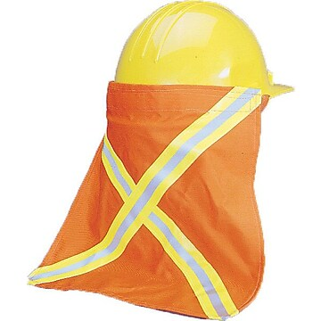 """High Visibility Nape Protector with 1/2"""" Lime/Silver/Lime Reflective Tape, 13-1/2"""" Length x 13"""" Width, Orange"""