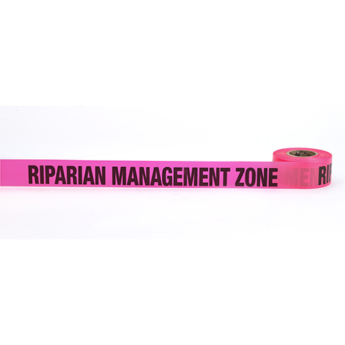 "Flagging Tape Printed ""Riparian Management Zone"", 1-1/2"" x 50 YDS, Glow Pink (Pack of 9)"