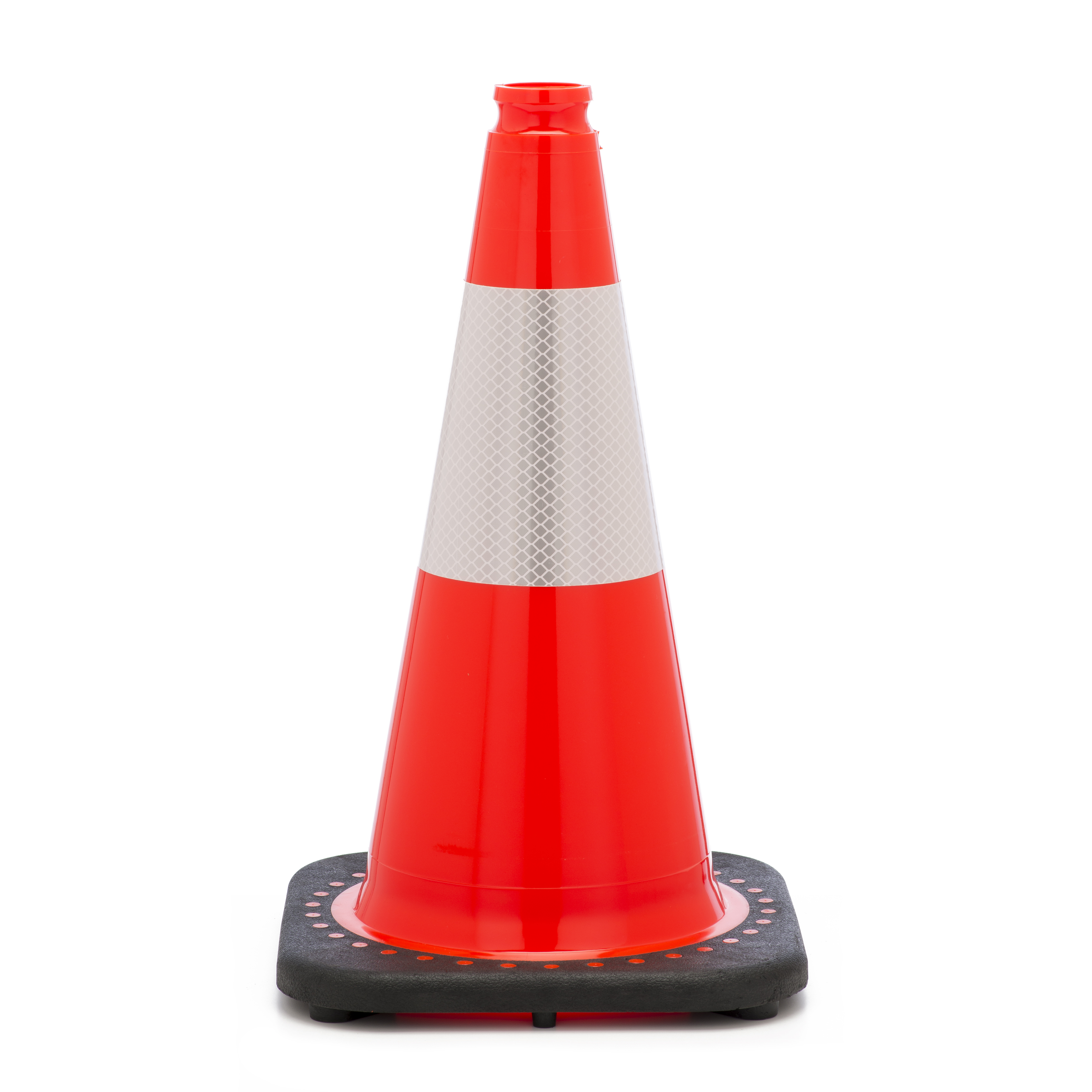 """Traffic Cone with 3 lbs Reflective, 18"""" Height, Orange"""