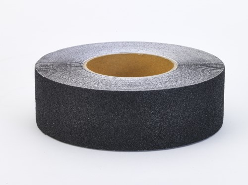 "Aluminum Oxide Non Skid Abrasive Safety Tape, 60' Length x 1"" Width, Black"