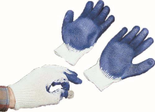 Sure Grip Gloves, String Knit with Latex Coated Palm and Fingers, 10 Gauge, X-Large, White/Blue (Pack of 12)