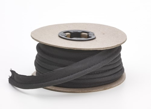 Broadcloth cord piping, 1/2 in Wide, 25 yds, Black