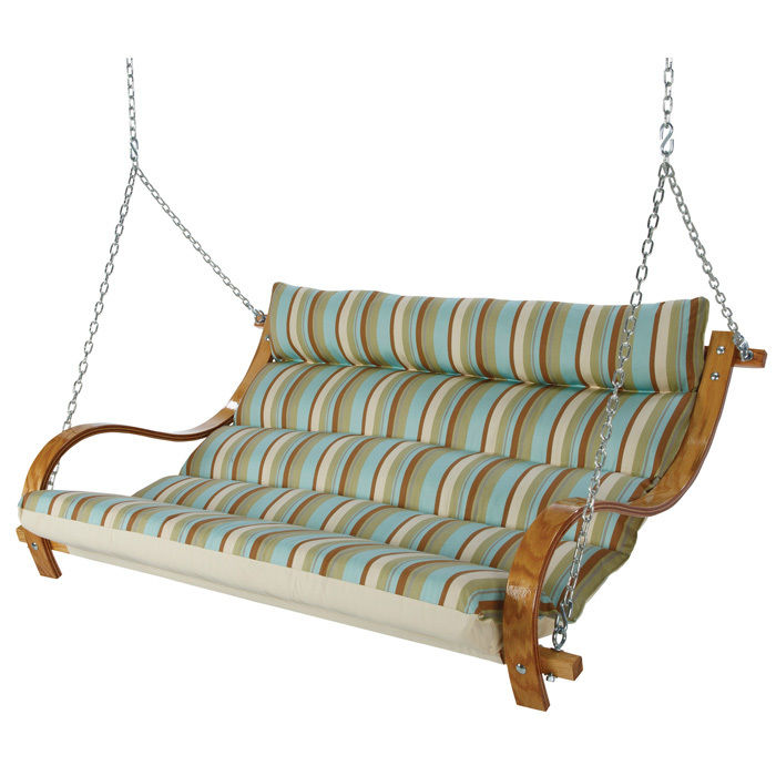 Deluxe Cushioned Double Swing - Spring Bay Stripe