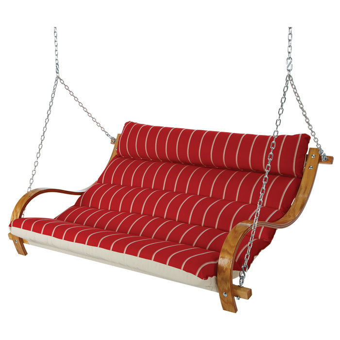 Deluxe Cushioned Double Swing - Royal Red Stripe