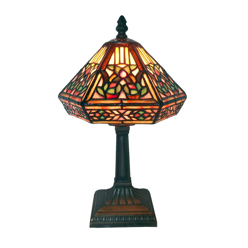 (Open Box)Tiffany Style Floral Mosaic Table Lamp