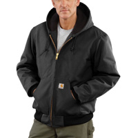 Carhartt� Medium Regular Black Quilted-Flannel Lined 12 Ounce Cotton Duck Active Jac Jacket With Front Zipper Closure