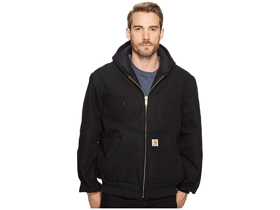(Open Box)Carhartt� Large Regular Black Quilted-Flannel Lined 12 Ounce Cotton Duck Active Jac Jacket With Front Zipper Cl