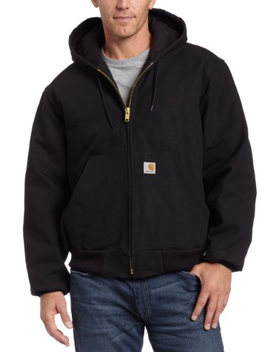 (Open Box)Carhartt� X-Large Tall Black Quilted-Flannel Lined 12 Ounce Cotton Duck Active Jac Jacket With Front Zipper Clo