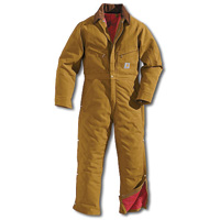 (Open Box)Carhartt+ 46 Short Brown Quilt Lined 12 Ounce Cotton Duck Coverall