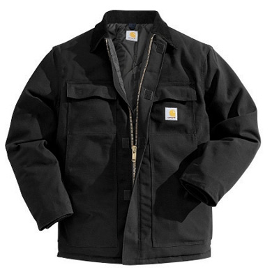 (Open Box)Carhartt� X-Large Regular Black Nylon Quilt Lined 12 Ounce Cotton Duck Arctic Traditional Coat With Front Zippe