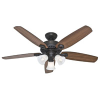 "52"" Builder Plus Ceiling Fan with 3-Light Fixture, White"