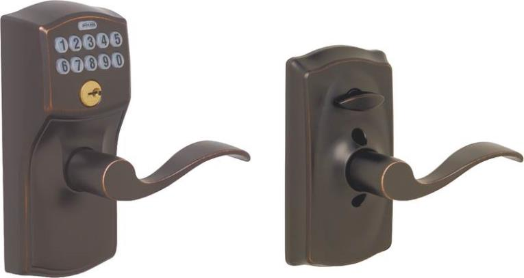 (Open Box)Camelot Keypad Accent Lever Door Lock, Aged Bronze