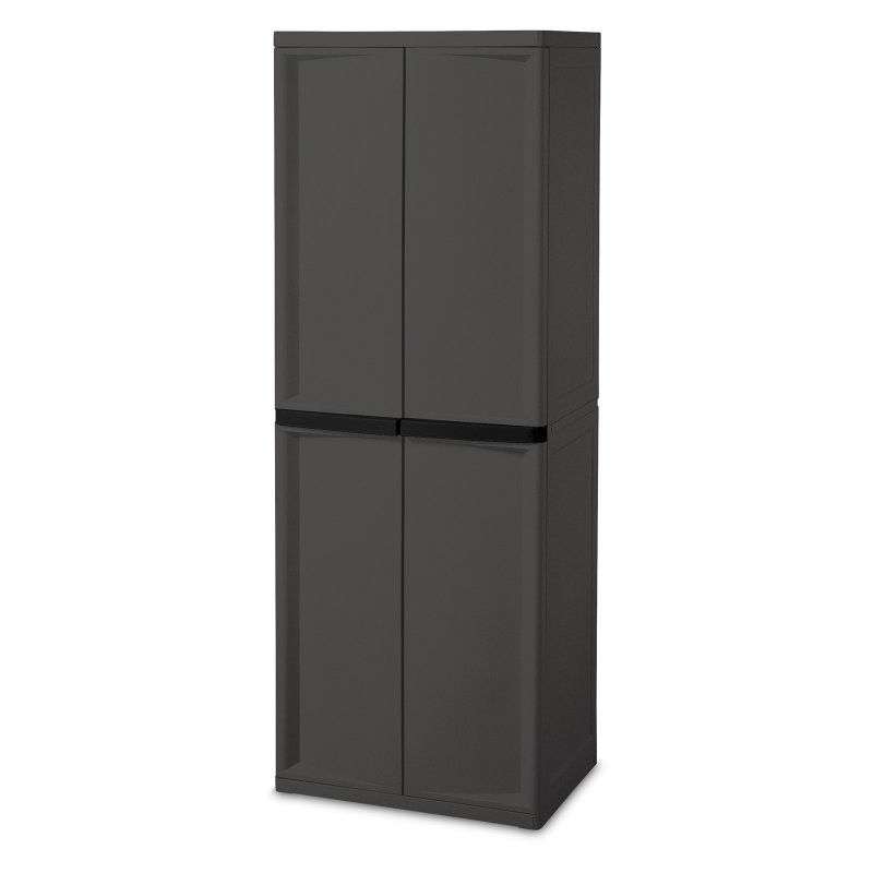 (Open Box)CABINET 4-SHELF GRAY W/BLK HDL