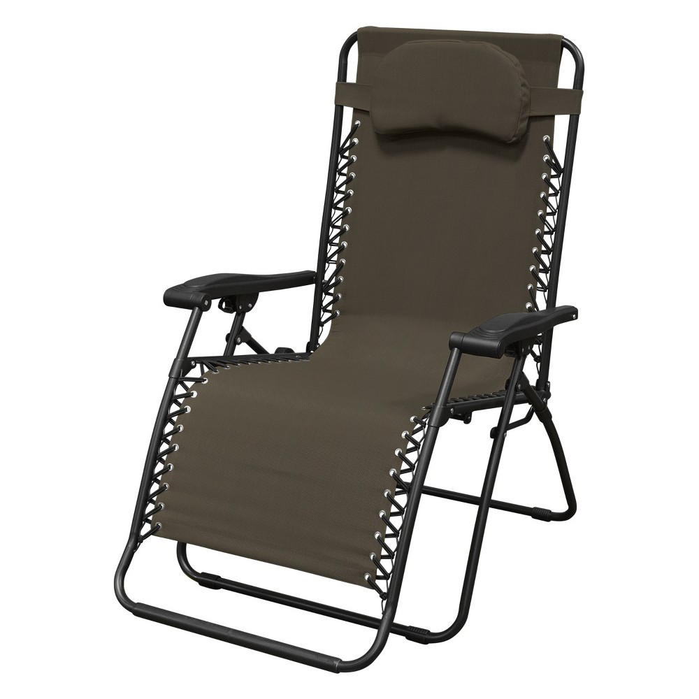 (Open Box)Caravan Canopy Infinity Zero Gravity Steel Frame Oversized Patio Chair, Brown