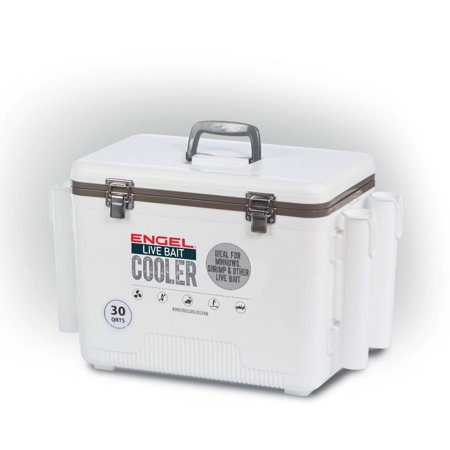 (Open Box)Engel 30 Durable Quart Live Bait Dry Box and Cooler with Rod Holders, White