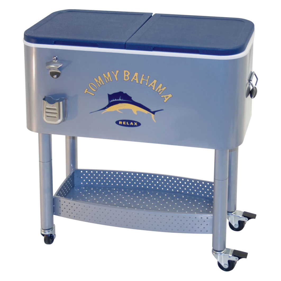 (Open Box)Tommy Bahama The Entertainer 77 Quart Steel Rolling Portable Patio Party Cooler