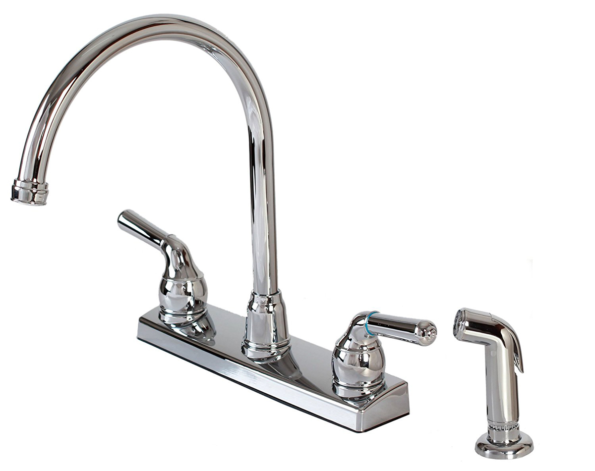 (Open Box) 12-2009 2-Handle Non-Metallic Kitchen Faucet with External Matching Spray, Chrome