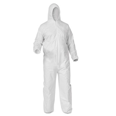 (Open Box) KLEENGUARD* A35 LIQUID AND PARTICLE PROTECTION COVERALLS, ZIPPER FRONT, WHITE, LARGE