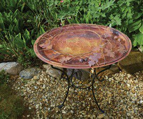 (Open Box) Oval Branch Flamed Standing Birdbath