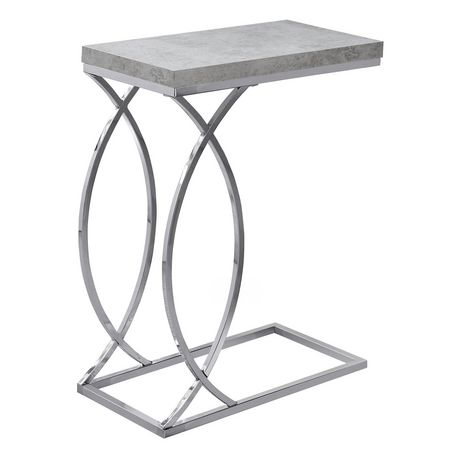 (Open Box) ACCENT TABLE - GREY CEMENT WITH CHROME METAL