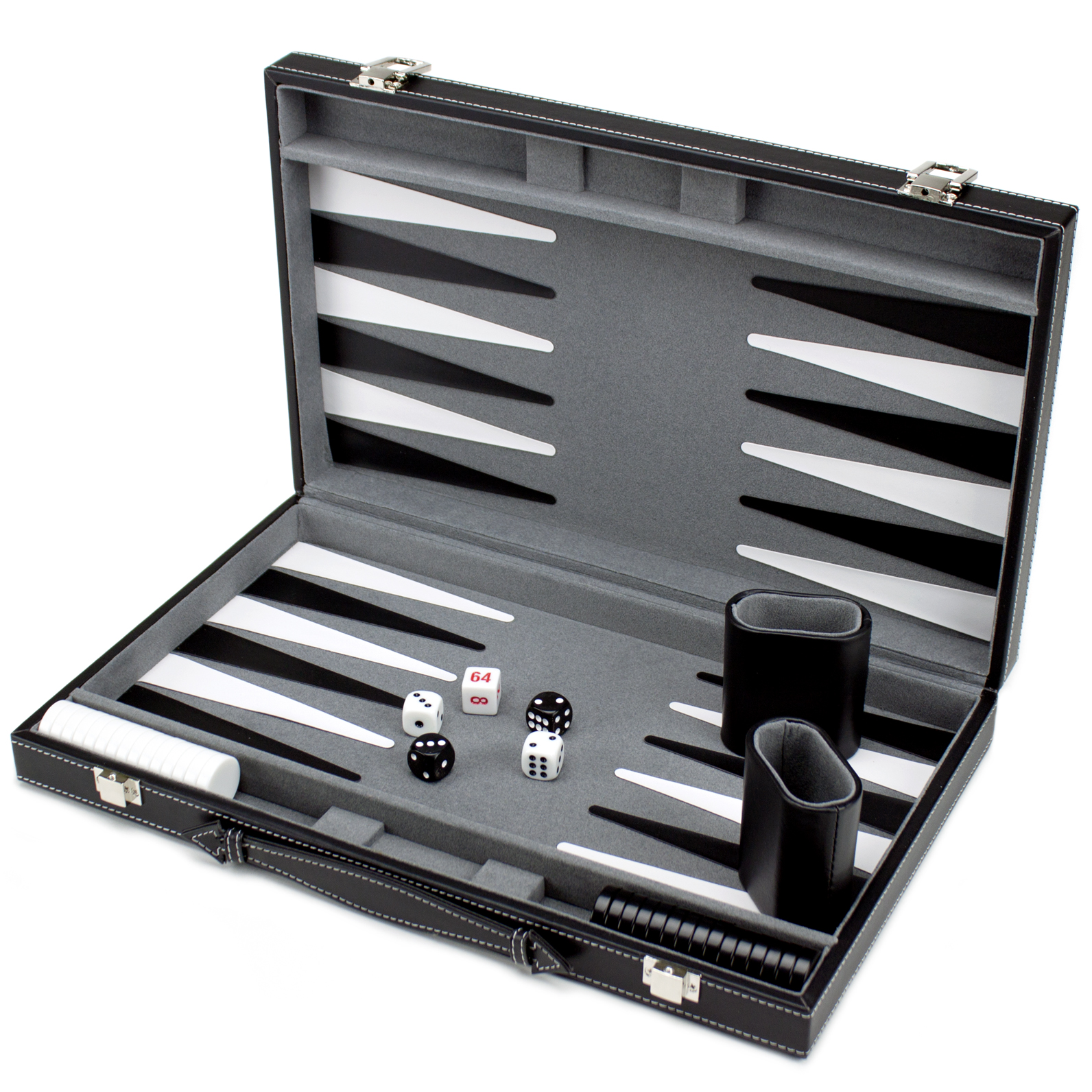 (Open Box) 15in Backgammon Set with Stitched Black Leatherette Case