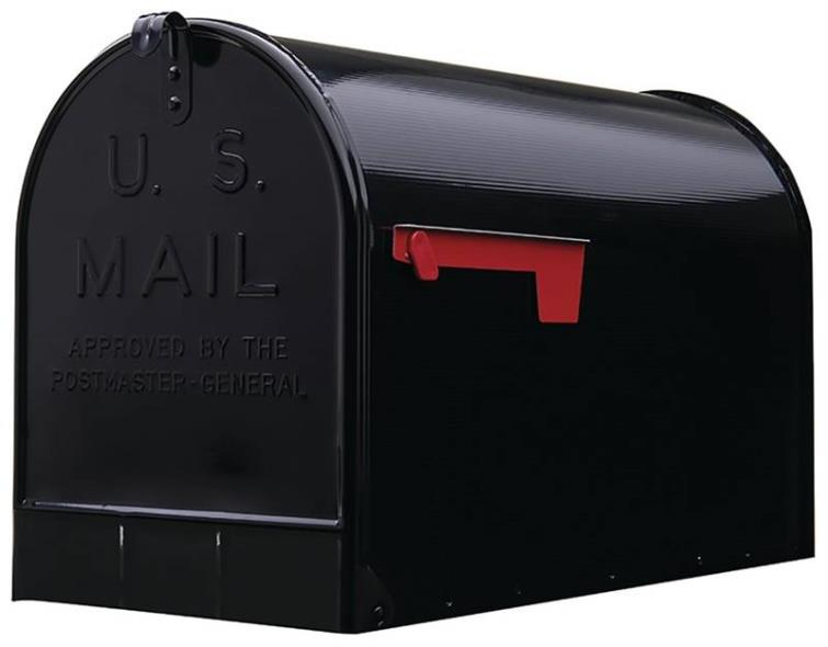 (Open Box) Gibraltar ST200B00 Jumbo Rural Mail Box, 15-1/4 in W x 12 in D x 24-1/8 in H, Black
