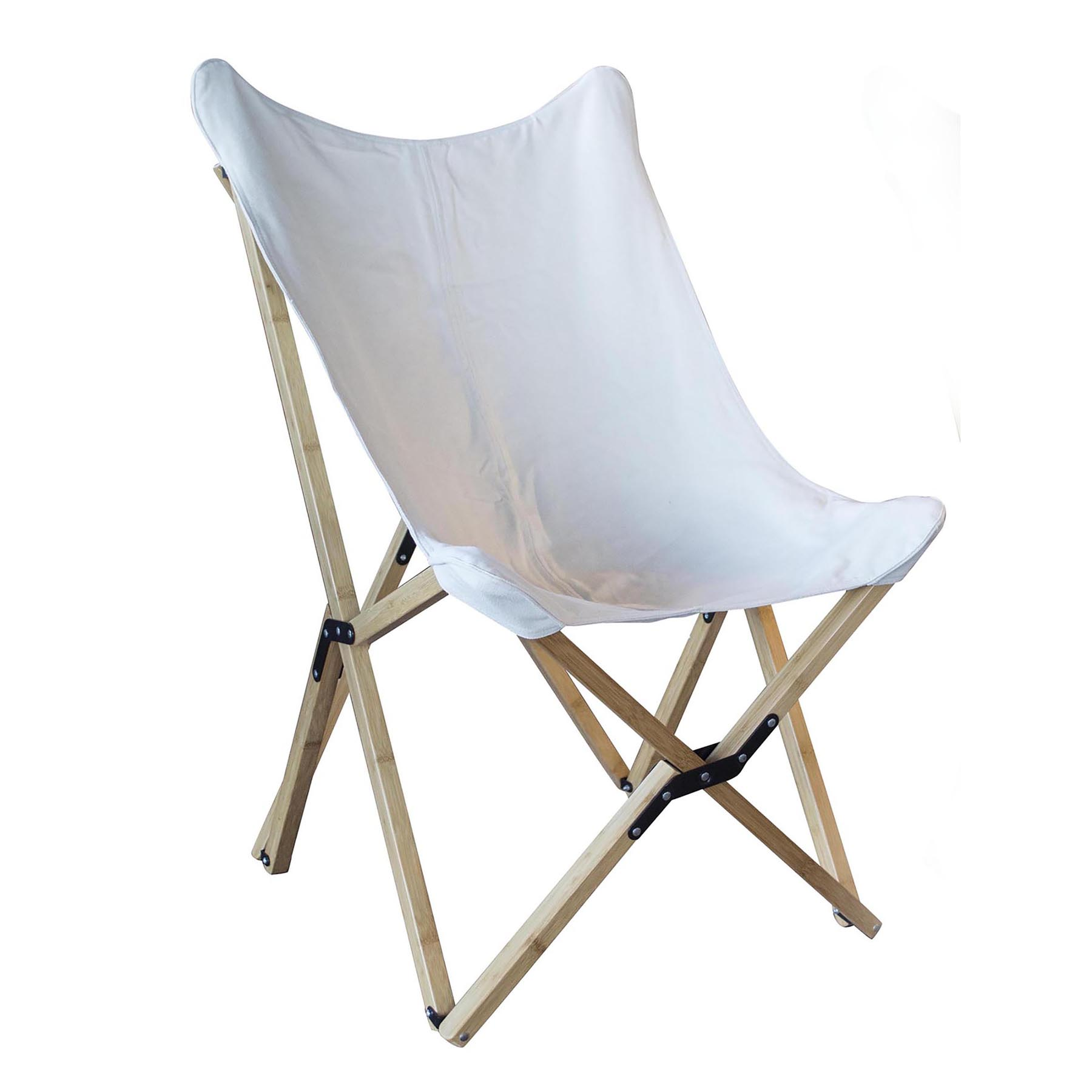 (Open Box) Canvas and Bamboo Butterfly Chair - White