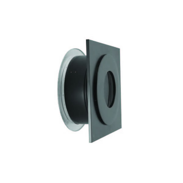 "6"" Dura-Vent Dura/Plus Wall Thimble, Stainless Steel Painted Black,With Trim"