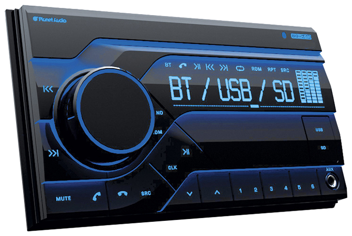 (Open Box) Planet Double Din Digital Media Receiver AM/FM Bluetooth USB Front Aux