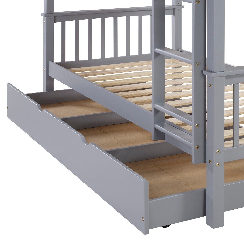 (Open Box) WE Furniture Kids Durable Solid Wood Twin Trundle - Grey