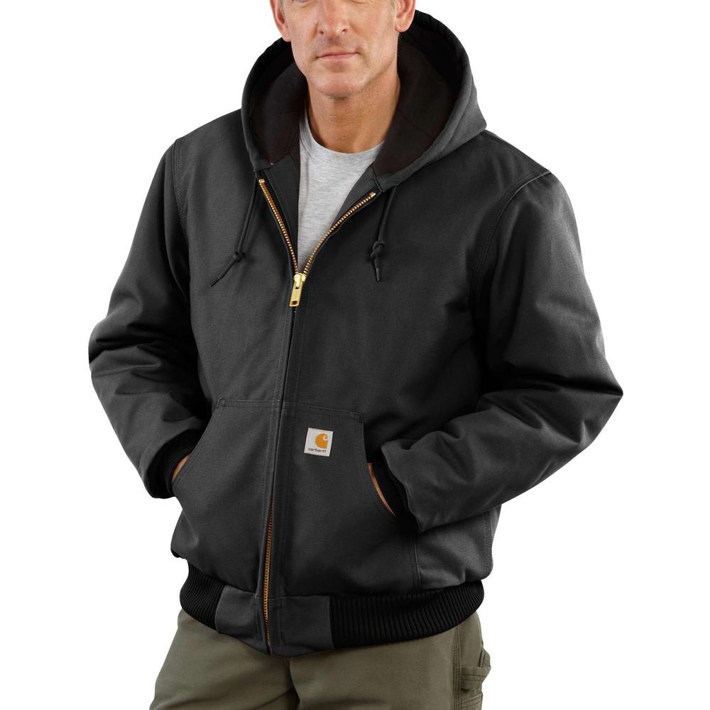 (Open Box)Carhartt� Small Regular Black Quilted-Flannel Lined 12 Ounce Cotton Duck Active Jac Jacket With Front Zipper Cl