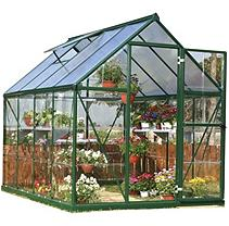 (Open Box) Palram Nature Series Hybrid Hobby Greenhouse - 6 x 8 x 7 Forest Green