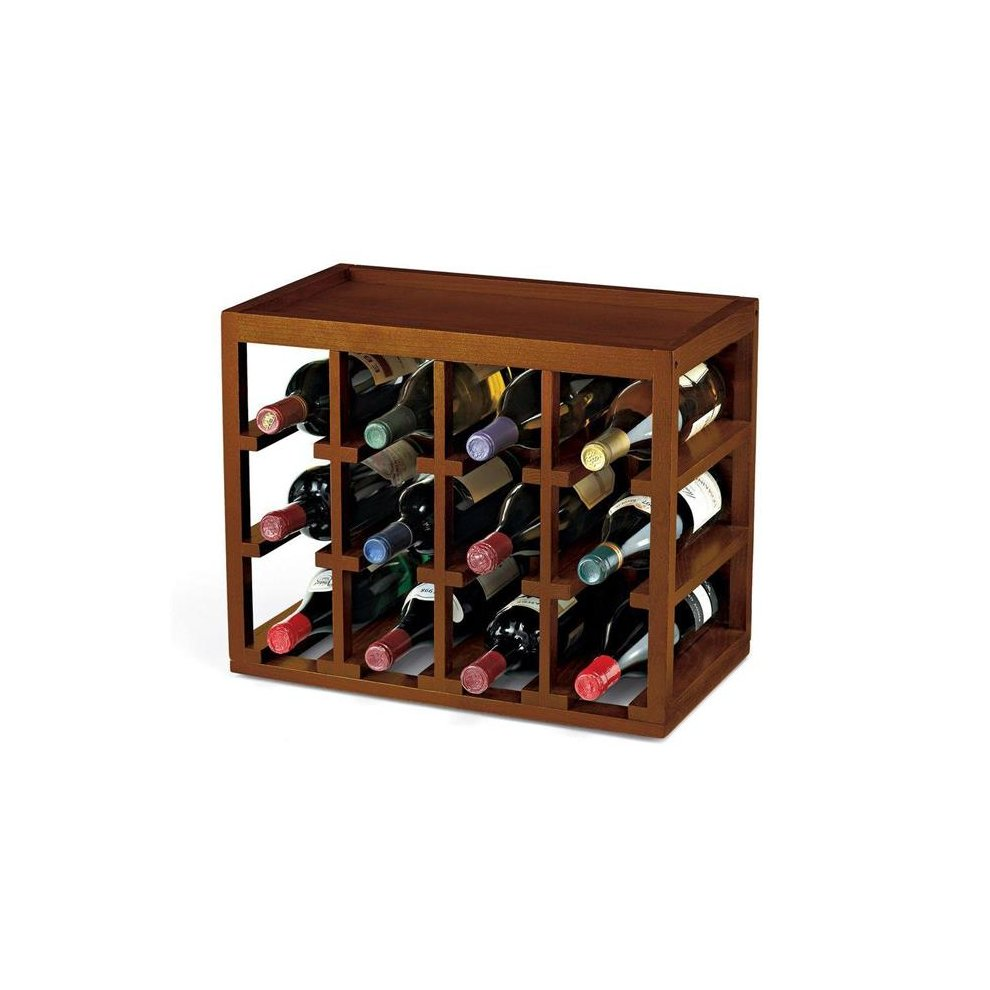 12 Bottle Cube-Stack Wine Rack (Walnut Stain)