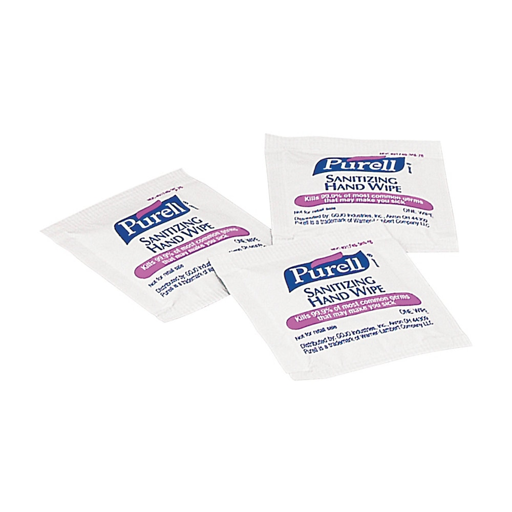 Premoistened Sanitizing Hand Wipes, Individually Wrapped, 5 x 7, 1000/Carton
