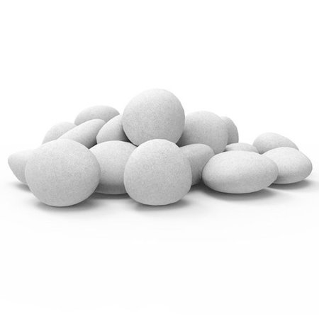 Regal Flame Set of 24 Light Weight Ceramic Fiber Gas Ethanol Electric Fireplace Pebbles in White