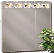 AMERICAN PRIDE TM SERIES BEVELED MIRROR LIGHTED TRI-VIEW MEDCINE CABINET, 30 IN.