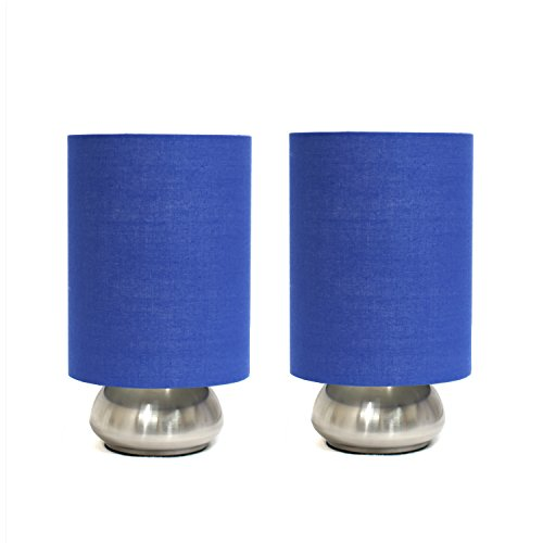 Simple Designs Two Pack Mini Touch Table Lamp Set with Blue Shades