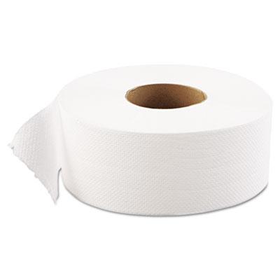 "JRT Jumbo Bath Tissue, 1-Ply, White, 9"" dia, 12 Rolls/Carton"