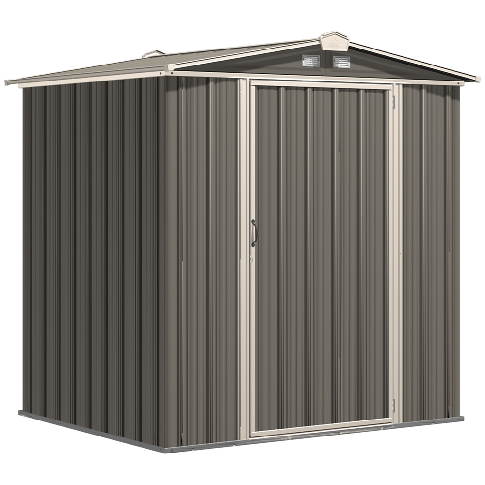 EZEE Shed Steel Storage 6 x 5 ft. Galvanized Low Gable Cream with Charcoal with Cream Trim