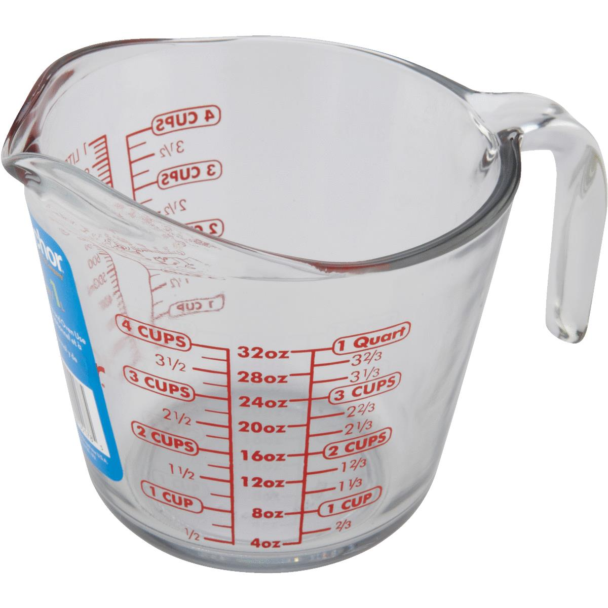 Anchor Hocking 551780L13 Measuring Cups, Open Handle, Glass, 4 Cup