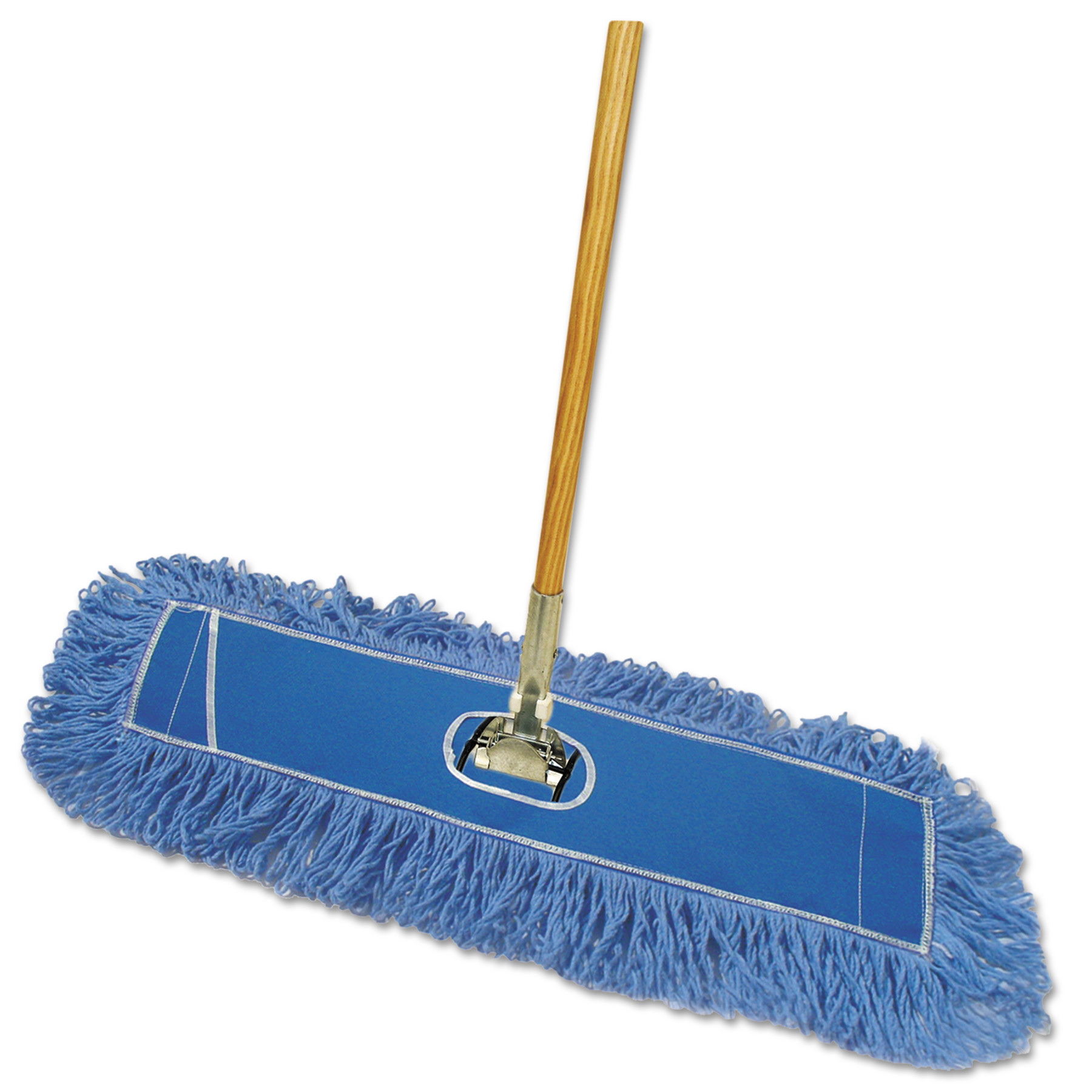 "Looped-End Dust Mop Kit, 36 x 5, 60"" Metal/Wood Handle, Blue/Natural"