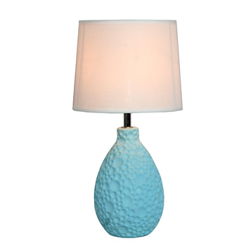 Simple Designs Blue Texturized Ceramic Oval Table Lamp