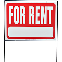 Hy-Ko RSF 2-Sided Weatherproof Real Estate Sign, For Rent, 24 in W x 18 in L