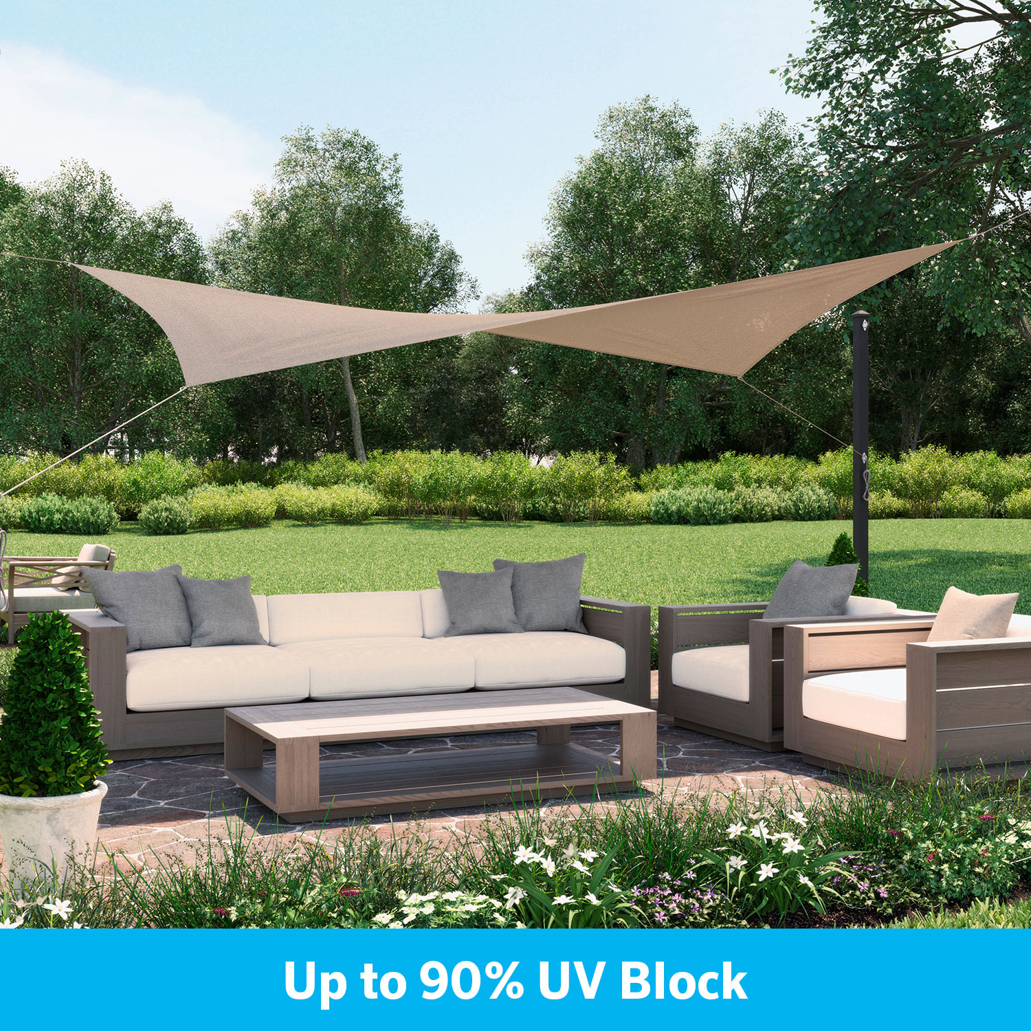"""Ready to hang Shade Sail Rectangle 11'10""""x8' Riverstone"""