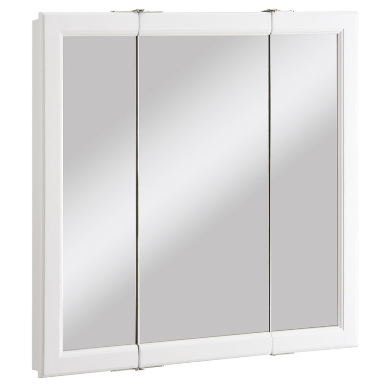 Wyndham White Semi-Gloss Tri-View Medicine Cabinet Mirror with 3-Doors, 30-Inches by 4.75-Inches by 30-Inches